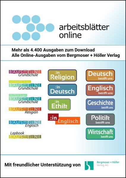 Mitgliedschaft bei Arbeitsblätter Online (Startguthaben 750 Credits)